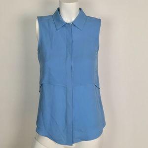 Theory Top Tunic Silk Button down soft blue Sz XS